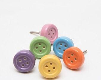 Set of 6 Ceramic Button Knobs