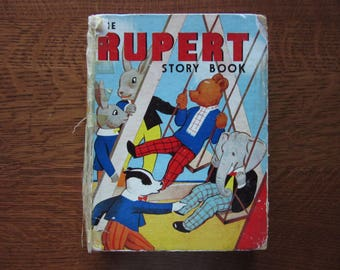 The Rupert Story Book, Rare Original 1938 First Edition, Mary Tourtel, Hard Cover, Vintage Collectible,Antiquarian,Childrens Classic Bedtime