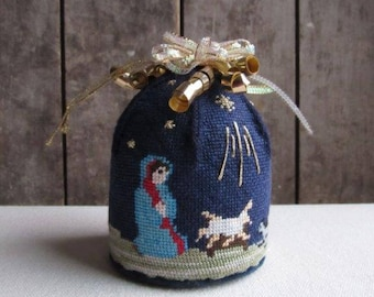 Unique Vintage Needlepoint Dome Ornament, Nativity, Mary,Jesus,Christmas Story,Tree Ornament,Handmade,Religious,Christian,Christmas Ornament