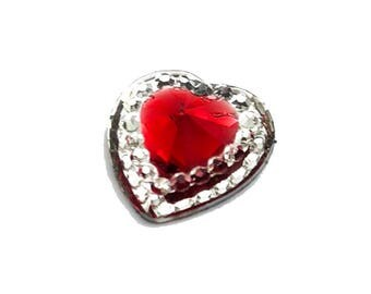 Red Clear Hearts Colored Resin Cabochons Kitsch Flatbacks Hair Bows Parties