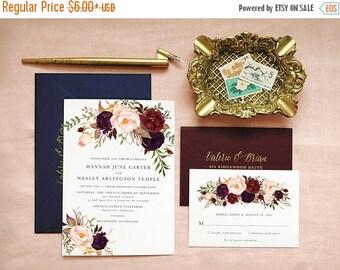 Bohemian Wedding Invitation Suite, Boho Wedding Invite, Boho Chic Wedding Invitation, Invitation Suite Spring Summer, Floral, Marsala