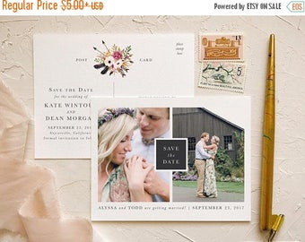 Rustic Save the Date in Pink and Blush for Barn Wedding