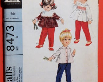 McCall's 8473 Little girls' smocked tops and pants pattern designed by Helen Lee Size 3