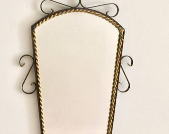 Vintage French mirror, black and gold wrought iron mirror, iron scrollwork frame
