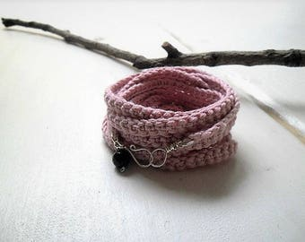 Crochet  wrap bracelet assorted colors - textile jewelry with dark blue agate bead