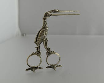 VICTORIAN 800 SILVER Crane Form Grape Sheers Scissors