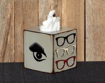 Eyeglasses Decor Optometry Optometrist Wayfarer Glasses Wooden Tissue Box Wooden Kleenex Box Optometry Art Optometry Gift Tissue Box Cover