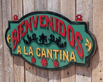 Cantina Sign Welcome Sign Bar Sign Rustic Sign Bienvenidos Sign Cantina Sign Turquoise Sign Mexican Cantina Spanish Welcome To The Bar
