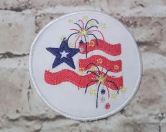 Patriotic - Fireworks - Flag - Hat Patch - 4 x 4 only -  Digital Embroidery Design