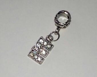 Pendant 1 X letter E silver and rhinestone