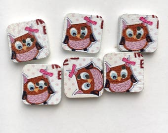 X 3 square buttons wood OWL and his Lil Bow (hole height) 15X15mm