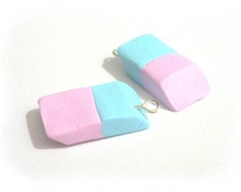 X 1 Eraser pink/blue fimo