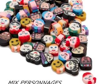 X 10 beads mix fimo faces