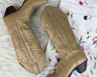 Vintage Womens Cowboy Boots / Justin Cowboy Boots / Vintage Justin Boots / Western Boots / Size 7