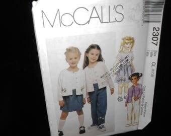 Childrens cardigan tops pant skorts McCalls 2307 Girls 6 7 8 Cardigan Top Pants Skort