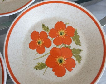 Fire Flower Lenox Temper-Ware Bread And Butter Plates