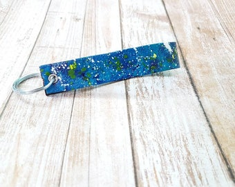 Hand painted leather keychain fob loop blue teal electric green