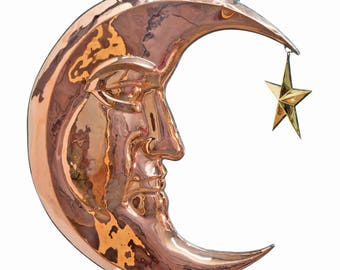 Moon and Stars Polished Solid Copper and Brass Hanging Trade Sign Vintage Style