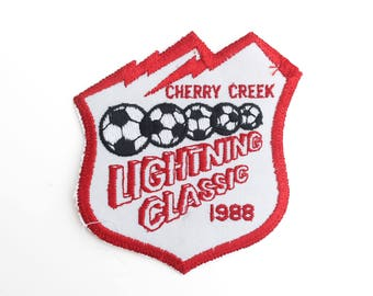 "Vintage 1988 Cherry Creek Lightning Classic Soccer Tournament Embroidered Patch 3.5"" x 3"""