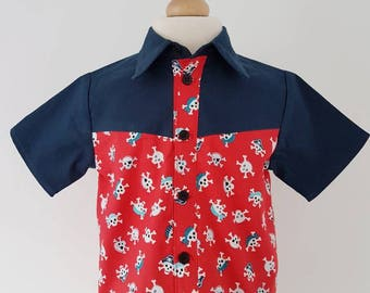 Pirate shirt, skull shirt, pirate party, red shirt, boys clothing, uk
