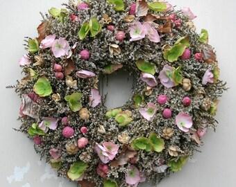 Door wreath wreath Statice pink hydrangeas handmade 45 cm