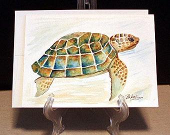 Turtle - Original Watercolor Blank Greeting Card