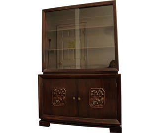 Mid-Century Modern Asian Ming-Style Mahogany Display/China Cabinet