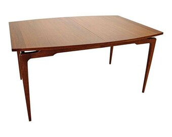 Mid-Century Dining Table Danish Modern Walnut Floating Top Sculptura Dining Table #14
