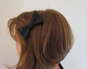 Charcoal grey bow Barrette