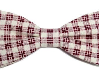 Cream and Burgundy Plaid bowtie sewn by hand with straight edges