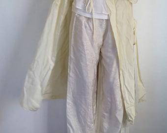 Silk Trousers//Vintage Silk Trousers//Cream Silk Trousers