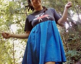 T SHIRT DRESS Upcycled Dress Recycled Dress Babydoll Dress Hippie Dress Beach Dress Mini Dress One of a Kind *Wolf Moon Babydoll*