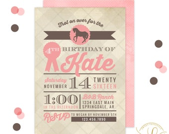 Horse Invitation | Horse Party | Equestrian Horse Invitation | Equestrian Horse Party | Pink Horse Party | Girl Western Party | Horse Riding