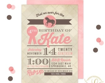 Horse Invitation   Horse Party   Equestrian Horse Invitation   Equestrian Horse Party   Pink Horse Party   Girl Western Party   Horse Riding