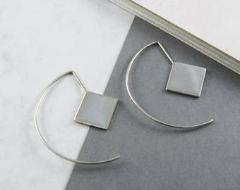 Silver Earrings, Earrings Gift, Geometric Earrings, Stylish Gift, Modern Jewellery, Hoop Earrings, Silver Drop Earrings, Square Earrings