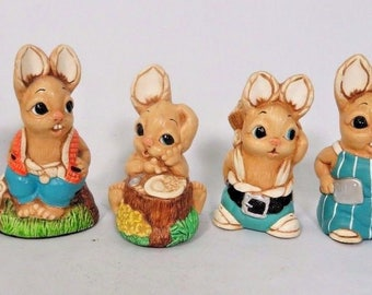 Woodlander Rabbit Figurine Lot of 6 Hand Painted Stoneware Mereside England Vtg