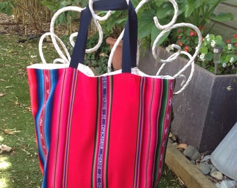 Large tote Beach cover-up and Bolivian fabric 60 x 60 cm