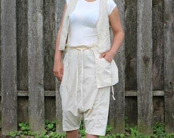 Short Harem Pants Drop Crotched Pants Beige Short Pants Cotton Pants Loose Aladdin Pants