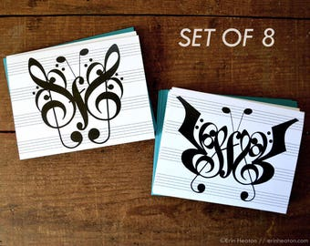 Music note cards / Set of 8 BUTTERFLY music note cards / Thank you notes / Music cards / Music teacher gift / Piano teacher gift