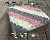 Toddler Afghan - Baby Afghan - Ready To Ship Afghan - Baby Blanket - Crochet Afghan - Crochet Blanket - Girl Afghan - Rose Pink Gray Ivory