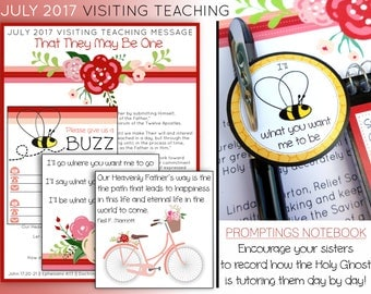 July 2017 Visiting Teaching Message and Printables, LDS Relief Society, Instant Download, VT Message