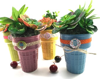 Choice faux succulent plant arrangement in ceramic ice cream cone with decorative ribbon and button