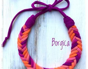 Orange purple fishbone braided tshirt yarn necklace - recycled necklace, textil jewelry, eco friendly necklace, gift fabric necklace, boho