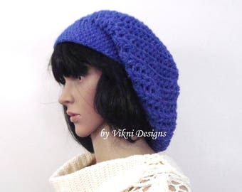 Denim Blue Crochet Winter Women Slouchy Beanie Beret Hat by Vikni Designs
