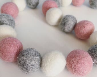 Pastel pink, soft grey and ivory felt ball garland