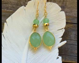 Gold Dangly Earrings - Chalcedony