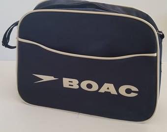Vintage mid 1960's BOAC British Overseas Airways Corporation travel tote, blue cloth vinyl, shoulder strap adjustable, 16 x 12 x 5.5