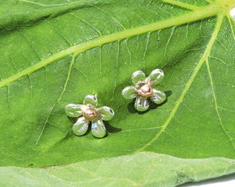 Sterling Silver 925 and Copper Tiny Flower Stud Earrings