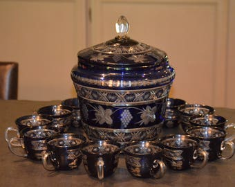 Cobalt Blue Czechoslovakian Cut Glass Punch Bowl Set with Lid and Cups