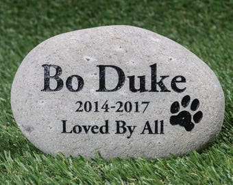 "Personalized Pet Memorial Stone 8-10"" - Pet Garden Stones - Engraved Pet Grave Marker - Custom Pet Stone - Pet Loss Engraved River Rock"